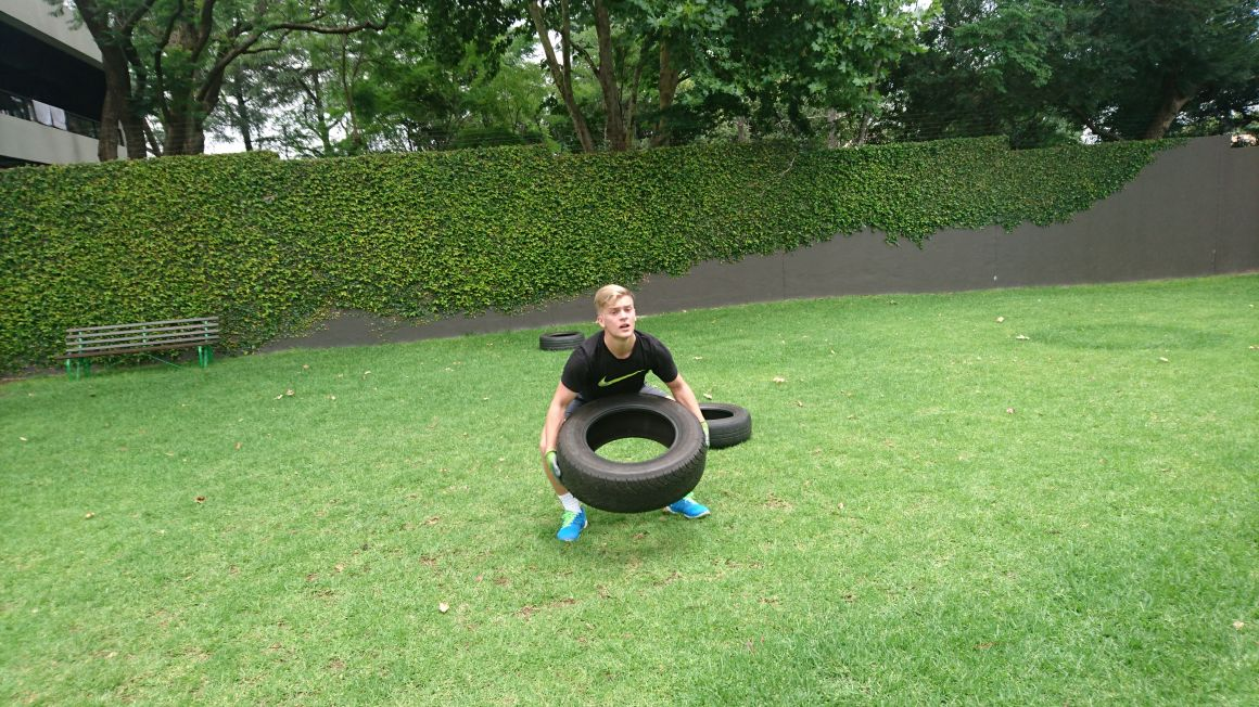 Keegan doing some tyre throws